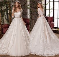 Wholesale long sexy wedding dresses for sale - 2017 New Design Sexy V Neck Elegant Bow Princess Wedding Dresses Gorgeous Appliques Vestido De Noiva Half Sleeves Hot Sale