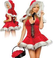 Little Red Riding Hood Corsetto legato Christmas Dress Skirt Luxury Fur Skirt Night Stage Performance Costume Cos-play Uniforme