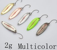 Wholesale Small Soft Lures - Spoon 012 New Leech 2g 3g 5g BKK HOOK 33-38-45mm Multicolor 6piece lot Metal Small Spoon Fishing Lures