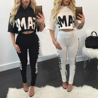 Wholesale Tight White Pants Set - 2 Piece Set Sexy O-neck Short Sleeve Tight Bandage Top and High-Waist Pants Slim Sheath Bodycon Two Pieces Set