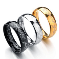 Wholesale Cocktails Rings - 6MM Size 6 -13 Gold Plated Stainless Steel Hobbit And Lord of the Ring Band Wedding Engagement Cocktail Husband Father Gifts
