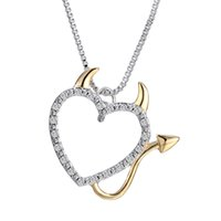 Wholesale Devil Pendant Wholesale - Wholesale-Hot Gold and Silver Plated Love Heart Accent Devil Heart Pendant Necklaces Jewelry for Women Summer Decoration with Box Chains