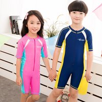 Wholesale Boy Short Swim Bikini - One Piece Swimsuit Kids Swimwear For Girls Swimming Suits Baby Swim Wear You 2017 New Children Connected Short Long Sleeve Boys