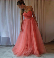 Wholesale Watermelon Formal Dress Cheap - Cheap Watermelon Red Bridesmaid Dresses Elegant A Line Sweetheart Vestido De Festa Long Formal Wedding Party Gowns Prom Dress