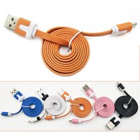 1M 3ft 2M 6ft 3M 10ft Flat Noodle Micro Cabo USB Data Line Carregamento de cabos do carregador de arame para Samsung Android Smart Mobile Phone