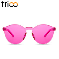 Wholesale Party Shade Glasses - Wholesale-TRIOO Rimless Round Sunglasses Transparent Vintage One Piece Design Sun Glasses For Women Fashion Party Color Lens Female Shades