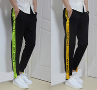 Wholesale Pant Sweatpants - 2017 new sweatpants men women pants off white hip hop casual pants trousers kanye west hip hop justin bieber jogger sweat pants