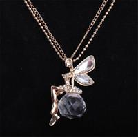 ingrosso catena della collana della libellula-Collana lunga del pendente di cristallo d'argento tibetano di angelo della libellula di modo retro per il regalo di compleanno della ragazza di lunedì