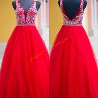 Wholesale Hot Pink White Ballgown - Hot Red Sweet 16 Dresses 2017 New Arrival with Major Beaded Bodice and Deep V-Neck Real Photo Bling Quinceanera Dress Ballgown Prom Gown