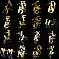 Wholesale Name Cufflinks - 26 English Letters A-Z Cufflinks Mens Cuff Links Gold Color French Shirt Men Jewelry Cufflinks Name Initial Cuff Buttons