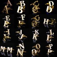 ingrosso gemelli di colore oro-26 Lettere inglesi A-Z Gemelli Gemelli da uomo Colore oro Camicia francese Gioielli Gemelli Nome Pulsanti polsini iniziali