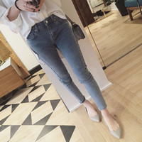 Wholesale Lace Slimming Pants For Women - Cotton High Elastic Imitate Jeans Woman Knee Skinny Pencil Pants Slim Ripped Boyfriend Jeans For Women