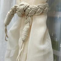 Wholesale Good Quality Curtains - Good Quality Curtain Tiebacks Handmade Braided Holdbacks Window Drapery Hooks Curtain Tie Backs 65CM JI0236