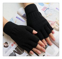Wholesale Hot Warm Gloves - Free Shipping Hot Gloves Unisex Plain Basic Hot Fingerless Winter Knitted Gloves Warm Finger Cover Fingerless Gloves For Women