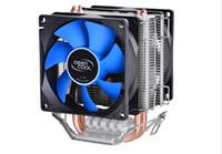 Wholesale 775 fan - Wholesale- Deepcool MINI CPU cooler 2pcs 8025 fan double heatpipe radiator for Intel LGA 775 115x, for AMD 754 940 AM2+ AM3 FM1 FM2 cooling