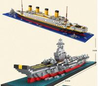 Wholesale build ship models for sale - Building Blocks aircraft carriers titanic ship model building blocks compatible school educational supplies toys YH528