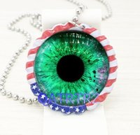 Wholesale Wholesale Bottlecap Jewelry - Wholesale Green Eye Bottlecap Necklace Glass Dome Art Picture Pendant Photo Pendant Handcrafted Jewelry,Glass Dome Bottlecap Necklace