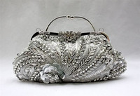 Wholesale Nude Chinese Women - Wholesale- Silver Chinese Women's Beaded Sequined Handbag Clutch Banquet Wedding Evening Bag Purse Makeup Bag Free Shipping 1889-A