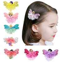 Wholesale Butterflies Jewellery - 4styles Girls Fairy Princess Lace sequins Hairpins Cinderalla SnowWhite Butterfly Wings Hair Clips Cute Pretty baby hair accessory