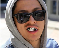 Wholesale Hip Hop Teeth - Gold Silver Color HIP HOP Teeth Grillz Top & Bootom Groll Set With silicone Vampire teeth