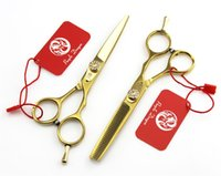 Wholesale Wholesale Thinning Shears - 5.5 Inch 6 Inch Hairdressing Scissors Gold Japan Stainless Steel 440C Professional Barber Cutting Thinning Shears