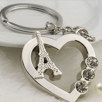 Wholesale Eiffel Tower Keyrings - Free shipping 50pcs lot wholesale Cute Love Hearts Paris Eiffel Tower Car Keychain Keyring with Rhinestone Friends Gift