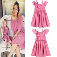 Wholesale Children S Winter Skirts - Mother Daughter Matching Dress Parent-child Mom Child Kids Wear Chiffon Ruffles Sleeve Slip Pleated Dress Family Same Pink Dress Skirts