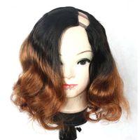 Wholesale u part wig ombre color online - Ombre U Part Human Hair Wigs Two Tone T1b Body Wave Indian Virgin Hair Wavy Left U Wigs inch
