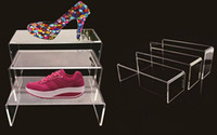 Wholesale Purse Bag Rack - 3pieces set High quality Acrylic shoes display stand rack Multifunction bag handbag purse jewelry Cosmetics display holder for Boutique shop