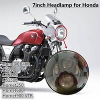 Wholesale Clear Honda Headlight - Universal Custom Clear 7'' 12V LED Motorcycle Projector Headlight For HONDA CB400 CB500