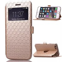 Wholesale Funny Phone Stands - Window View Case For Iphone 6S Wallet Phone Case Iphone 6S Cover with Flip Stand Funny Phone Cases