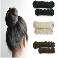 Wholesale New Magic Hair - New product hot sale wholesale 2Pcs Women's Magic Foam Sponge Hairdisk Hair Ring Shaper Styling Device Donut Quick Messy Bun Updo Headwear