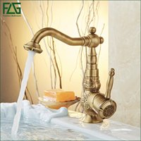 Wholesale Luxury Antique Sinks - FLG Retail Basin Faucet Deck Mounted Luxury Antique 360 Degree Swivel Cold Hot Retro Vintage Sink Mixer Taps,Free Shipping 10702