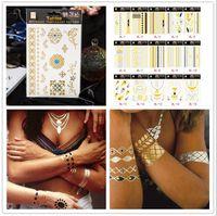 Wholesale Bling Sticker Lips - 100pcs Summer Tattoos Temporary Metallic Tattoo Jewelry Fancy Flash Body Gold Tattoo Bling Feather Flash Necklace Waterproof Sticker F100