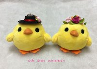 Wholesale Wholesale Bride Groom Keychain - Wholesale- Adorable Yellow Duck , Chicken Bride & Groom Stuffed Plush Toy Doll - Keychain Charm Pendant Plush Doll , Gift Wedding Plush Toy