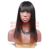 Wholesale Light Brown Lolita Wig - Synthetic Hair Women Fashion Cheap Wigs Medium Ombre Straight Black Ombre Light Brown Full Bang Lolita Drag Party Celebrity Wig