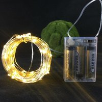 Wholesale Pink Mini String Lights - 100pcs*10M 100 LEDs 3AA Battery Mini LED silver Copper Wire starry String Fairy Lights Christmas home party decoration holiday lights
