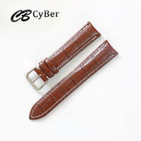 Wholesale Bamboo Needle - Cbcyber watch bands 20mm 22mm Watchband Genuine Leather Sweatband Men bamboo Pattern Watch Replacement Strap Stainless Steel Buckle