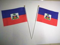 Wholesale Hand wave country banners Haiti small National flags polyester materials with pole cm