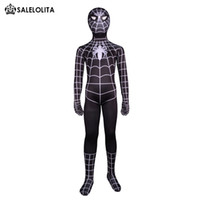 Wholesale lycra costume men - 2017 Children Black Spiderman Halloween Costumes Children Lycra Spandex Zentai Bodysuit Child Superhero Spider-man Costume