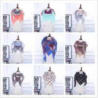 Wholesale Scarves Designers - 35 Colors Winter Scarf Tartan Cashmere Scarf Women Plaid Blanket Scarf New Designer Acrylic Basic Shawls CCA7065 50pcs