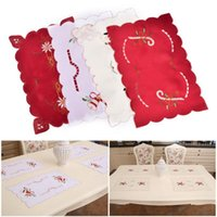Wholesale Napkins Cartoon Decorations - Christmas Table Mats 43*28cm Embroidered Hollow Out Table Mats Placemats Napkins Decor Cover Dining Table Mat Xmas Home Decor OOA2841