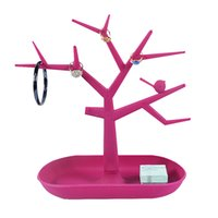 Wholesale Jewelry Necklace Tree Display - Free Shipping Hot Sales Fashion TC Jewelry Necklace Ring Earrings Bird Red Tree Stand Display Organizer Holder Rack