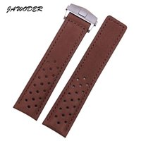 Wholesale JAWODER Watchband Men mm Brown Holes soft Scrub Genuine Leather watch band strap Stainless steel deployment buckle for T A G