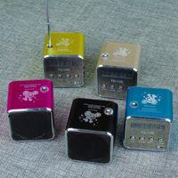 Wholesale Mini Radios Hot Colors - Hot 5 Colors Portable Micro USB Stereo mini Speaker FM Radio Speaker subwoofer Super Bass Portable Speaker Free DHL