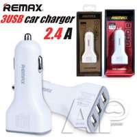 Wholesale Usb Adaptor Tablet - REMAX Full 2.4A 3 USB Fast Car Chargers Adaptor For IPhone 7 Plus Charger Samsung Galaxy IPad Tablet IPod With Retail Package