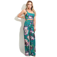 Wholesale Long Tank Tops Cheap - Women's Sexy Backless Flower Printed Two Piece Pants Slip Bodycorn Tank Tops + High Waist Loose Long Pants Wholesale Cheap DHL Fast Delivery