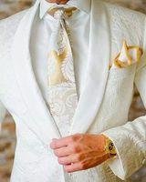 Wholesale Slim Fit 3pcs - Custom 2017 White Jacquard Tuxedos Best Men Groom Wedding 3pcs Suits Slim Fit