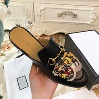 Wholesale Closed Hotel Slippers - 2017 New Arrival Tiger print Women summer Scuffs with top quality genuine leather slippers closed toe loafers fashion sandals flat Moccasins