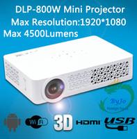 dlp construída projector wi-fi 3d venda por atacado-DLP-800W Projetor Mini Projetor 3D 1080p, Full HD LED de Bolso HDMI USB Projetor LED WIFI, Embutido Android 4.4 Bluetooth 4.0 DLP800W